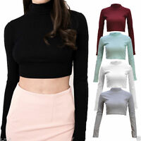 Womens Ladies Ribbed Cotton Polo Turtle Neck Crop Top Long Sleeve Short Plain