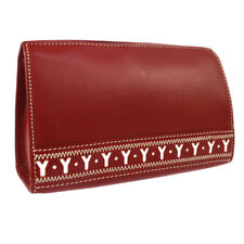 Yves Saint Laurent Logos Cosmetic Hand Bag Pouch Red Leather Auth AK33264j