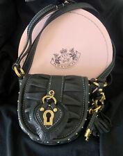 Juicy Couture Crossbody Bag/Small Purse Black Leather Key Lock Charm (W/Box)
