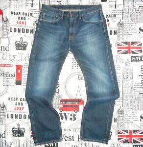 mens W34 x L31 Levi's 505 JEANS Classic Straight Leg Red Tab Vintage Blue Denim