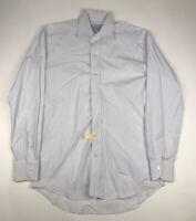 LEDBURY White Blue Windowpane Button Front Long Sleeve Mens Size 15.5 / 39