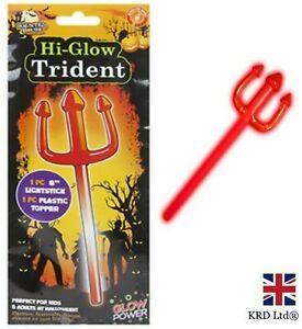 HALLOWEEN RED DEVIL GLOW TRIDENT Glow Sticks Fancy Dress Party Prop Costume UK