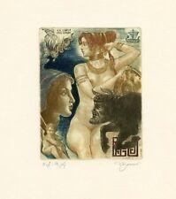 Ariadne and  Minotaur, Nude, Mythology Ex libris Etching by David Bekker