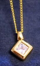 Inset Pendant Necklace + Handsome Vtg Gold Rim Rhinestone
