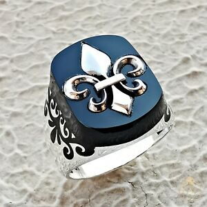 Mens Heraldry Symbol Signet Ring Fleur De Lish France Lily Catholic Seal Ring