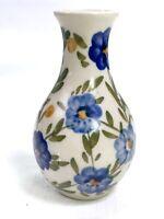 "Vintage Ceramic Mini Vase - White w Blue Flowers - 4""  EUC"