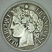 1871 K France Silver 2 Francs Coin KM #816.2 F-VF Fine to Very Fine French K37