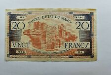 CrazieM World Bank Note - 1943 Morocco 20 Francs - Collection Lot m851