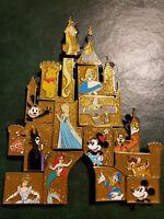 Disney Pin, LE 16 Pin Mystery Set, Gold Castle, Puzzle, Alice,Cinderella,Ariel