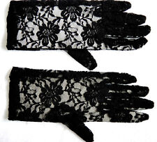 "Victorian Edwardian 9"" Lace Black Gloves Fancy Dress Costume Accessory P2069"