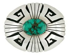 Navajo Tony Billy Natural Nevada Turquoise .925 Silver Wind Feather Belt Buckle