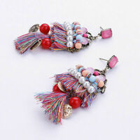 Women Bohemian Vintage Long Tassel Fringe Boho Dangle Earrings Fashion Jewelry