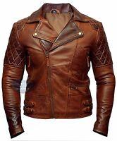 Mens Biker Classic Diamond Motorcycle Brown Distressed Vintage Leather Jacket-B7