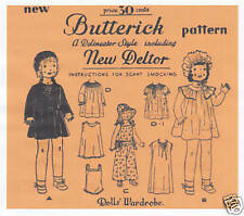 """436 Antique Chubby Doll Clothes Pattern - Size 16""""- Year 1930"""