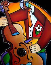 Abstract POP Art Painting Modern Giclee Jazz Bass by Fidostudio