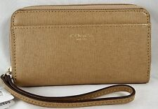COACH BOXES LEGACY SAFFIANO TOFFEE LEATHER EW UNIVERSAL CASE 64976