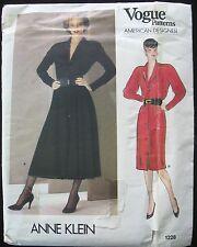 Vogue ANNE KLEIN Dress Pattern NOS American Designer 1228 Sz 14