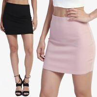 TheMogan Basic Sexy Stretch Thick Ponte Knit High Waisted Bodycon Mini Skirt