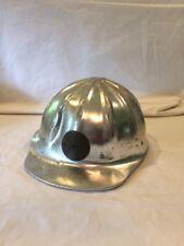 Fibre Metal Vintage Aluminum Hard Hat Superlite Used Metallic Building Co. Brass