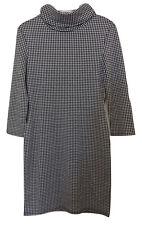 Womens EVITA Monochrome Check Print Roll Neck 3/4 Sleeve Midi Dress - UK Size 10