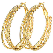 Fashion 14K Yellow Gold Plated Dangle Drop Hollow Hoop Earrings Wedding Jewelry