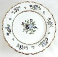 SET 2 ANTIQUE BOOTH'S BONE CHINA ENGLAND A8086 SCALLOPED BREAD PLATES GOLD BLUE