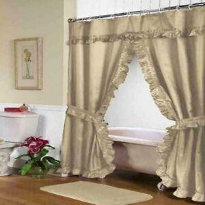 "Carnation Home ""Lauren"" Double Swag Shower Curtain Linen"