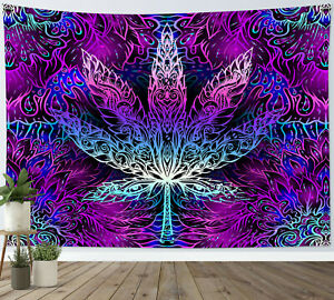 Trippy Weed Tapestry Psychedelic Marijuana Leaf Wall Hanging For Living Room
