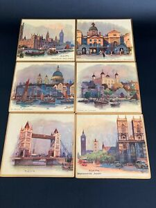 Vintage cork back 6 x 7  PLACEMATS/COASTERS London Scenes sets of 6 Exc Cond