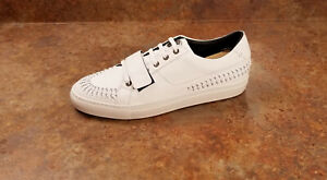 New! Versace Braided Low Top Sneakers White Leather Mens 11 US 44 Eur. MSRP $695