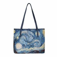 Signare Van Gogh Starry Night Tapestry Tote Bag with Strap Navy Polyester
