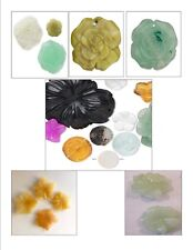 Pendant / Focal / Drop ~ GEMSTONE & GLASS Carved FLOWERS ~ 3 EA Various Sizes