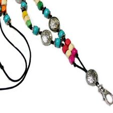 Lanyard cord necklace keys security badge adjustable length - Rainbow wood beads