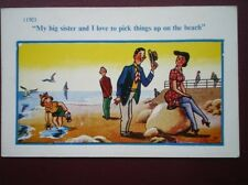 POSTCARD COMIC MY BIG SISTER & I LOVE TO PICK THINGS UP ON THE BEACH
