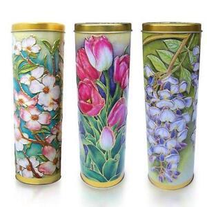 Silver Crane Set of 3 Floral Tins Embossed Cylinders Retired Enesco Lidded