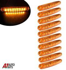 Ten Orange Super Bright 9 Diodes Slim Line Side Marker Lamps Car Van Boat 100mm