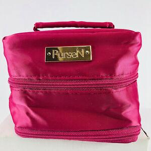 PurseN Tiara Pink Satin Small Jewelry Case Weekender Travel Organizer EUC