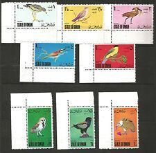 OMAN ~  Oiseaux, 8 valeurs, P. + P.A., coin de feuille. Neuf**. MNH. 1er choix.