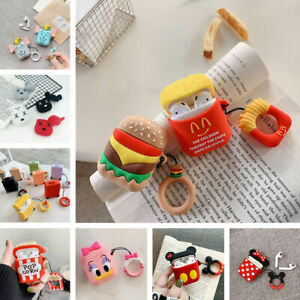 3D Cartoon Character Case Holder W/ finger Ring Earbuds Skin For Apple AirPods