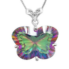 27ct Natural Mystic Rainbow Topaz Pendant Necklace Chain 925 Sterling Silver