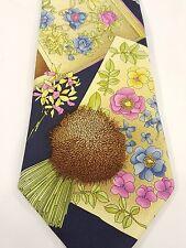 Leonard Paris Dessin No C70028 100% Silk Men'sTie Made in Italy Flowers & Basket