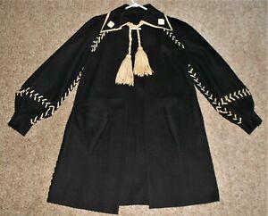 UNUSUAL VINTAGE 1930's LADIES BLACK COAT M