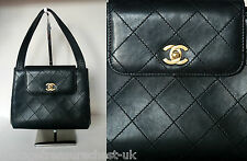 auth vtg CHANEL quilted leather top handle front flap CC logo shoulder bag