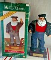 "Vintage 13"" Animated Trim-A-Home Sock Hop Santa Claus Christmas Sings & Dancing"