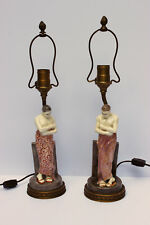 Antique Goldscheider Austria Lamps by Rudolph Maison Pair