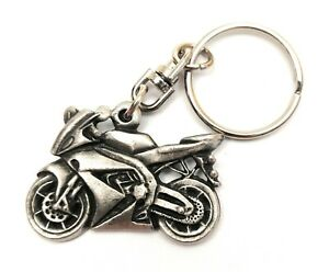 Racing Motor Bike Pewter Hand Crafted in UK Key Ring in Gift Pouch