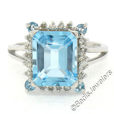 NEW 14K White Gold Round & Emerald Cut Blue Topaz w/ 0.25ctw Diamond Halo Ring