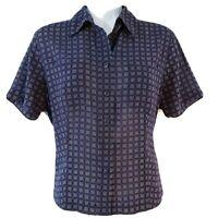 Pendleton Womens Size 4 Blue Short Sleeve Button Down Geometric Blouse Top Shirt