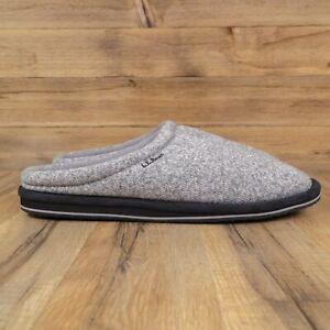 L.L. Bean Sweater Fleece Mens Slip-On Gray Scuff Slippers Size 13 - 304492