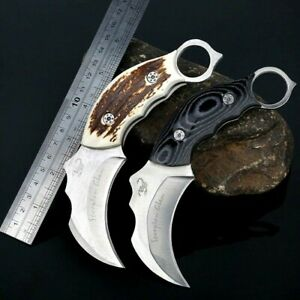 """Claw Knife Karambit Serrated Fixed Blade Hunting Tactical Combat Wood Handle 3"""""""